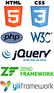 HTML5, CSS3, PHP, jQuery, W3C